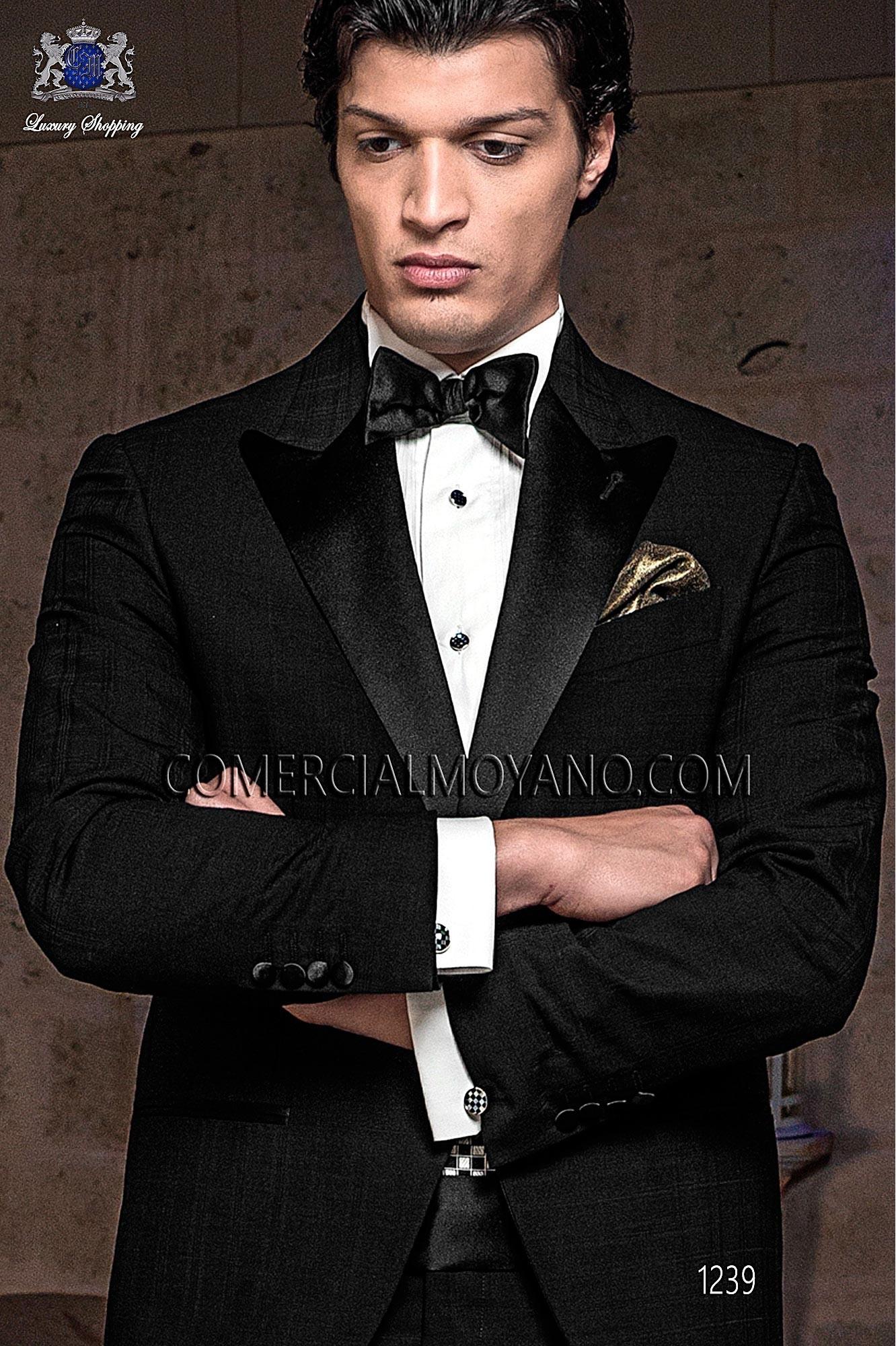Italian Blacktie Black Men Wedding Suit Model 1239 Ottavio Nuccio Gala Tie Collection