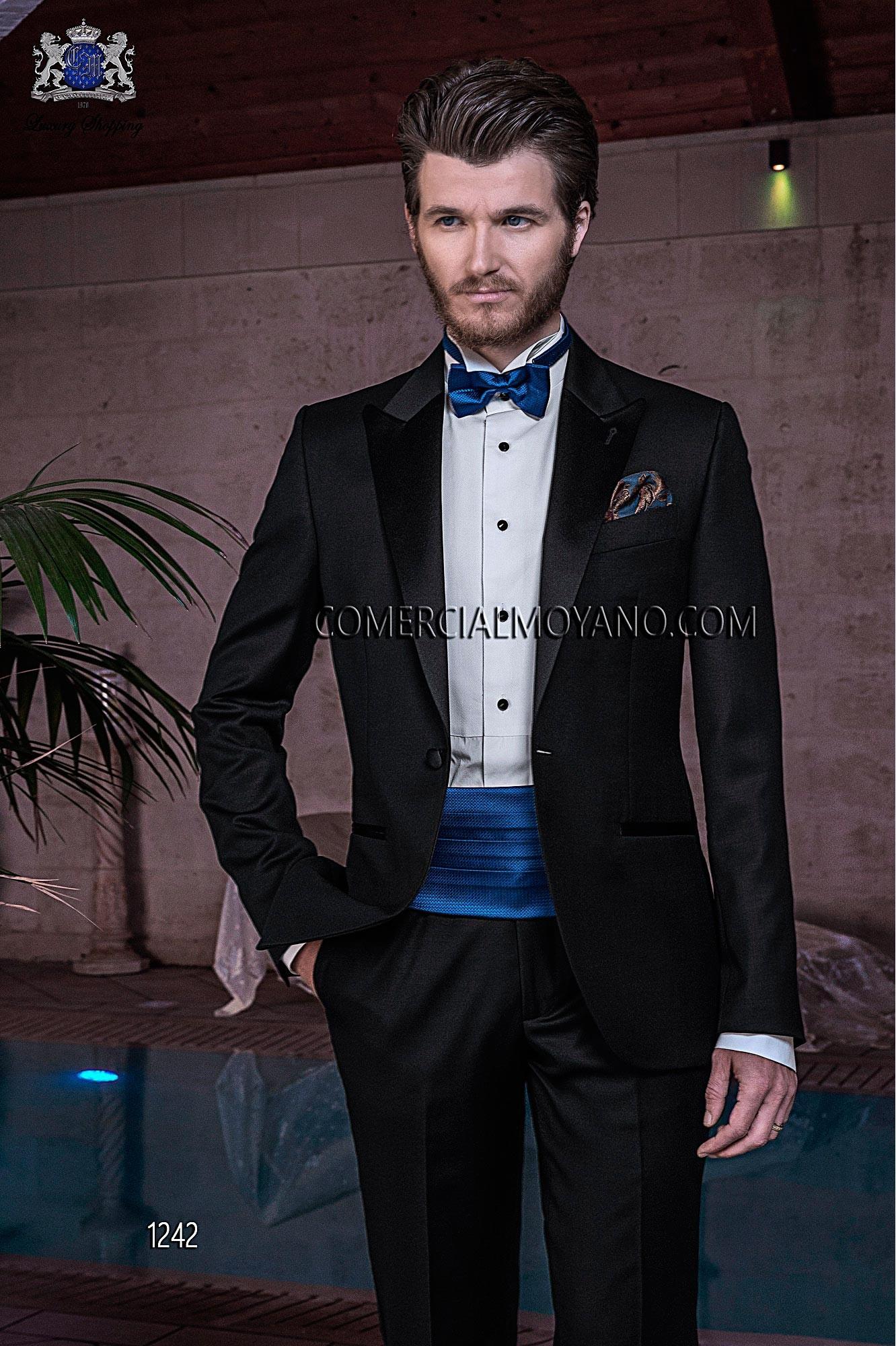 Traje de novio italiano esmoquin a medida, en lana Super 100'S, modelo 1242 Ottavio Nuccio Gala colección Black Tie 2015