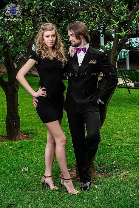 Italian black wedding tuxedo double breasted