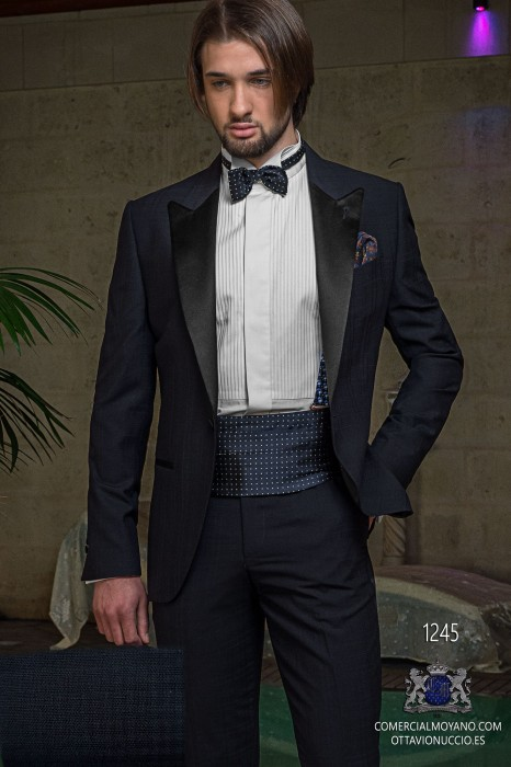 Italian blue tuxedo wedding suit
