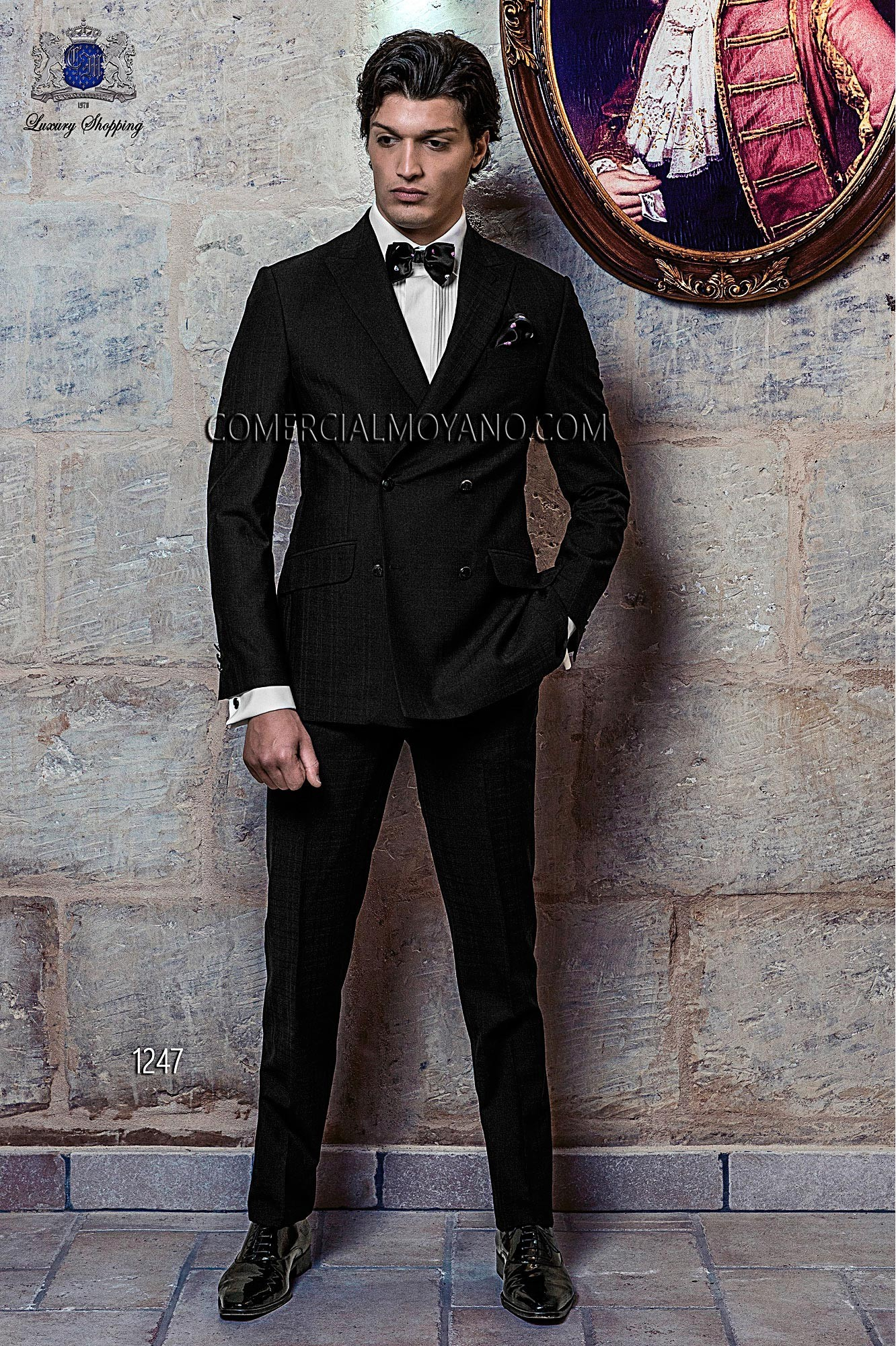 Traje de novio italiano a medida esmoquin negro en tejido 100% lana (NW) cuadros madrás, modelo 1247 Ottavio Nuccio Gala colección Black Tie 2015.