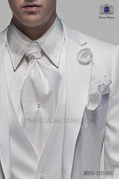 White ascot tie and handkerchief