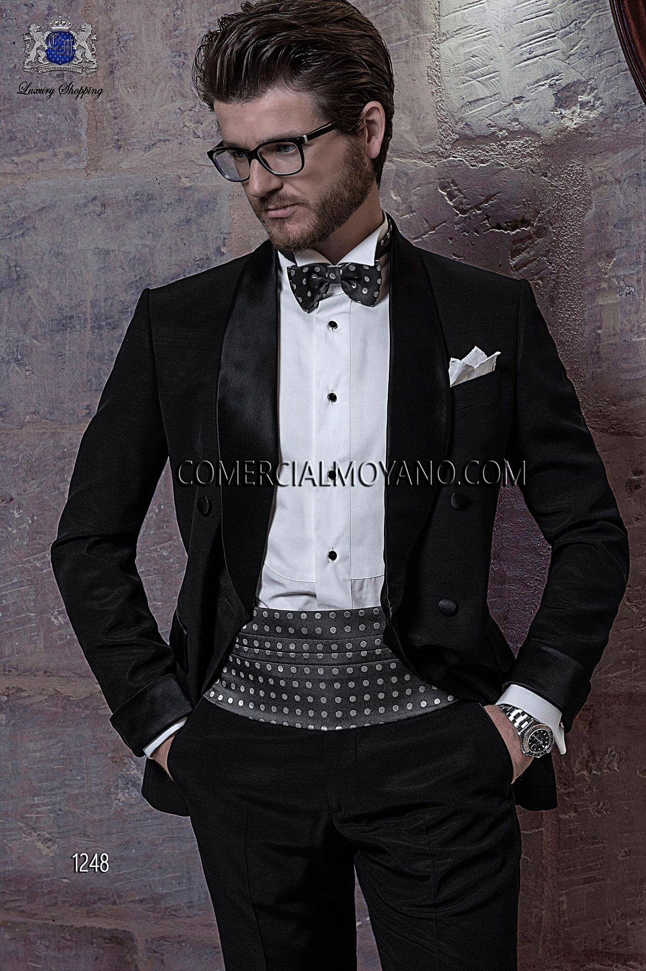 Italian bespoke suit, black wedding tuxedo style 1248 Ottavio ...