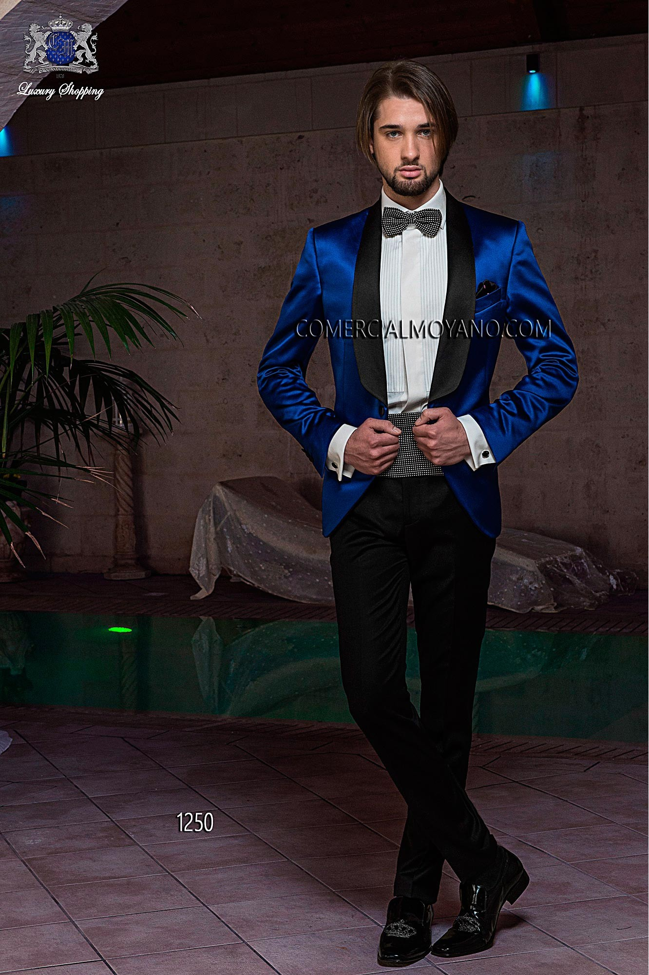 Italian bespoke suit, blue satin tuxedo with black satin shawl lapel, coordinated with black new performance trouser, style 1250 Ottavio Nuccio Gala, 2015 Black Tie collection.