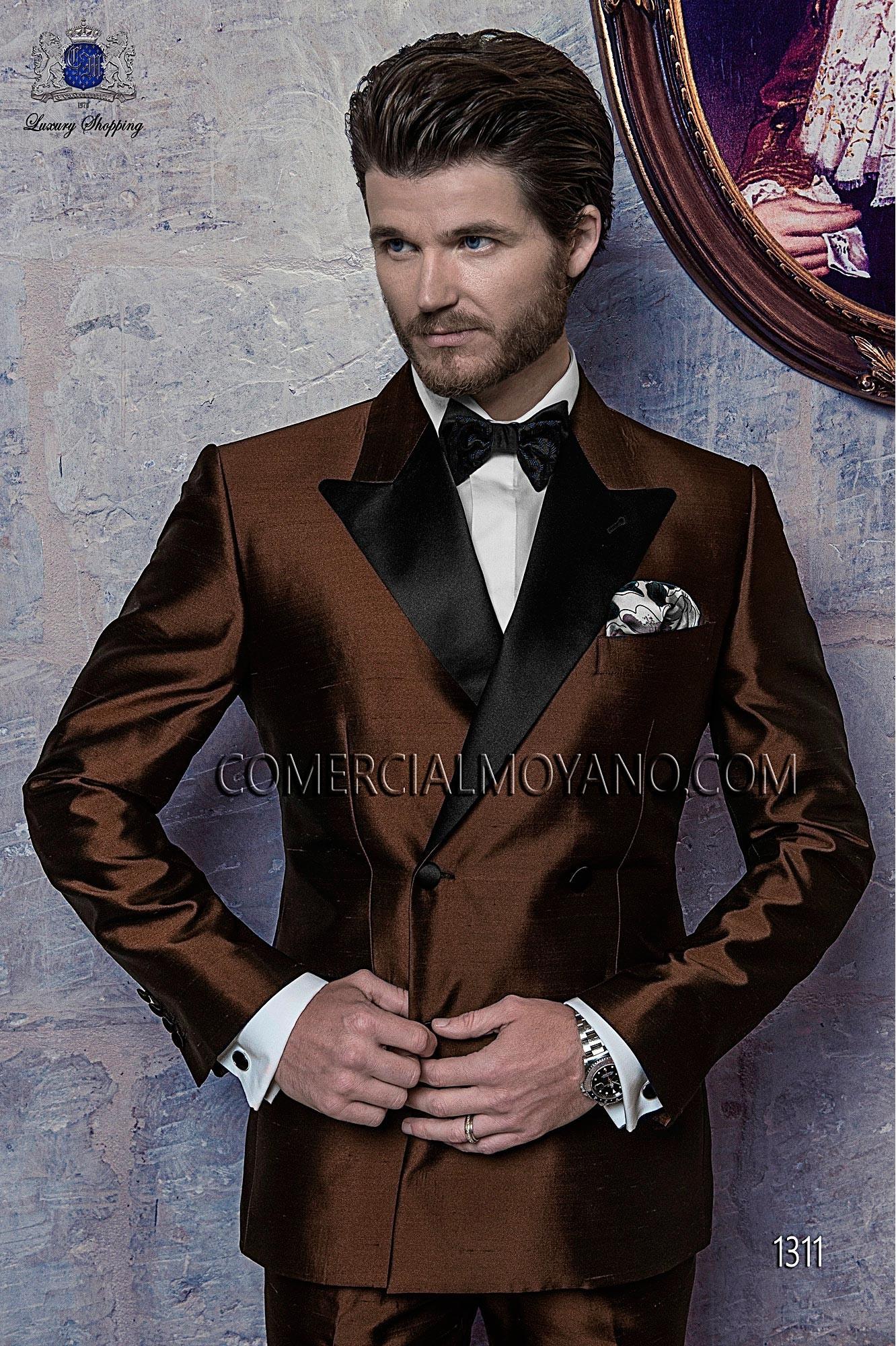 Italian bespoke suit, brown wedding tuxedo style 1311 Ottavio ...