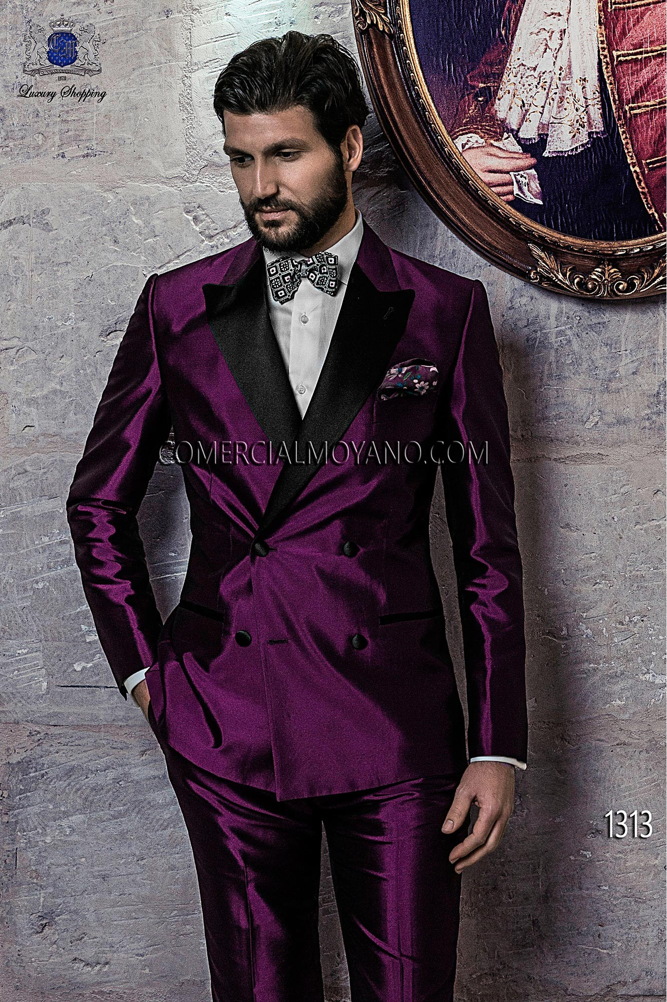 Italian bespoke suit, purple wedding tuxedo style 1313 Ottavio ...