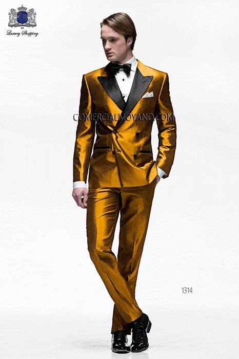Double breasted mens gold tuxedo