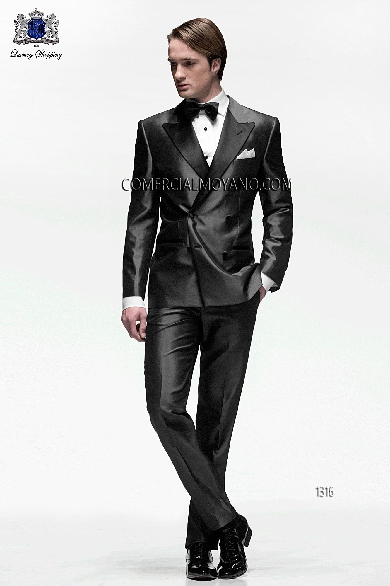 Italian bespoke suit, anthracite gray wedding tuxedo style 1316 ...