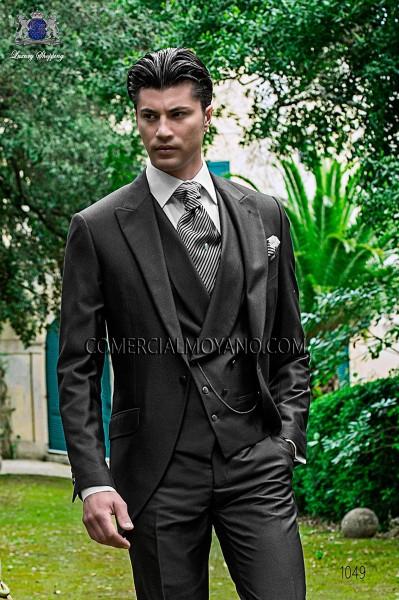 Italian gray short frock wedding suit