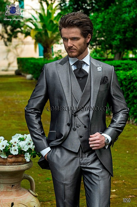 Italian pearl gray short frock wedding suit