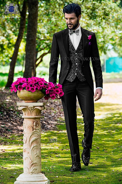 Italian black short frock wedding suit