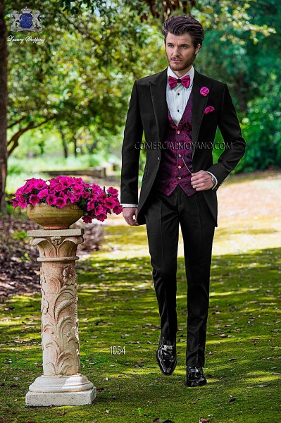 Italian fashion black men wedding suit style 1054 Ottavio Nuccio Gala