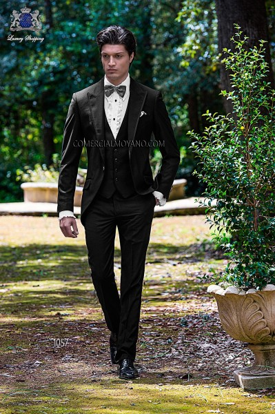 Italian black three pieces short frock groom suit
