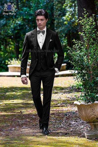 Italian black three pieces short frock groom suit