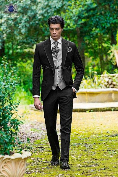 Italian fashion black men wedding suit style 1058 Ottavio Nuccio Gala