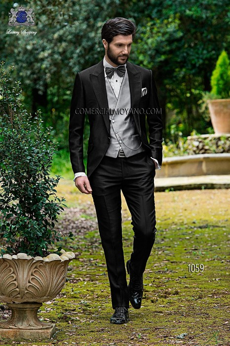 Italian bespoke black groom suit