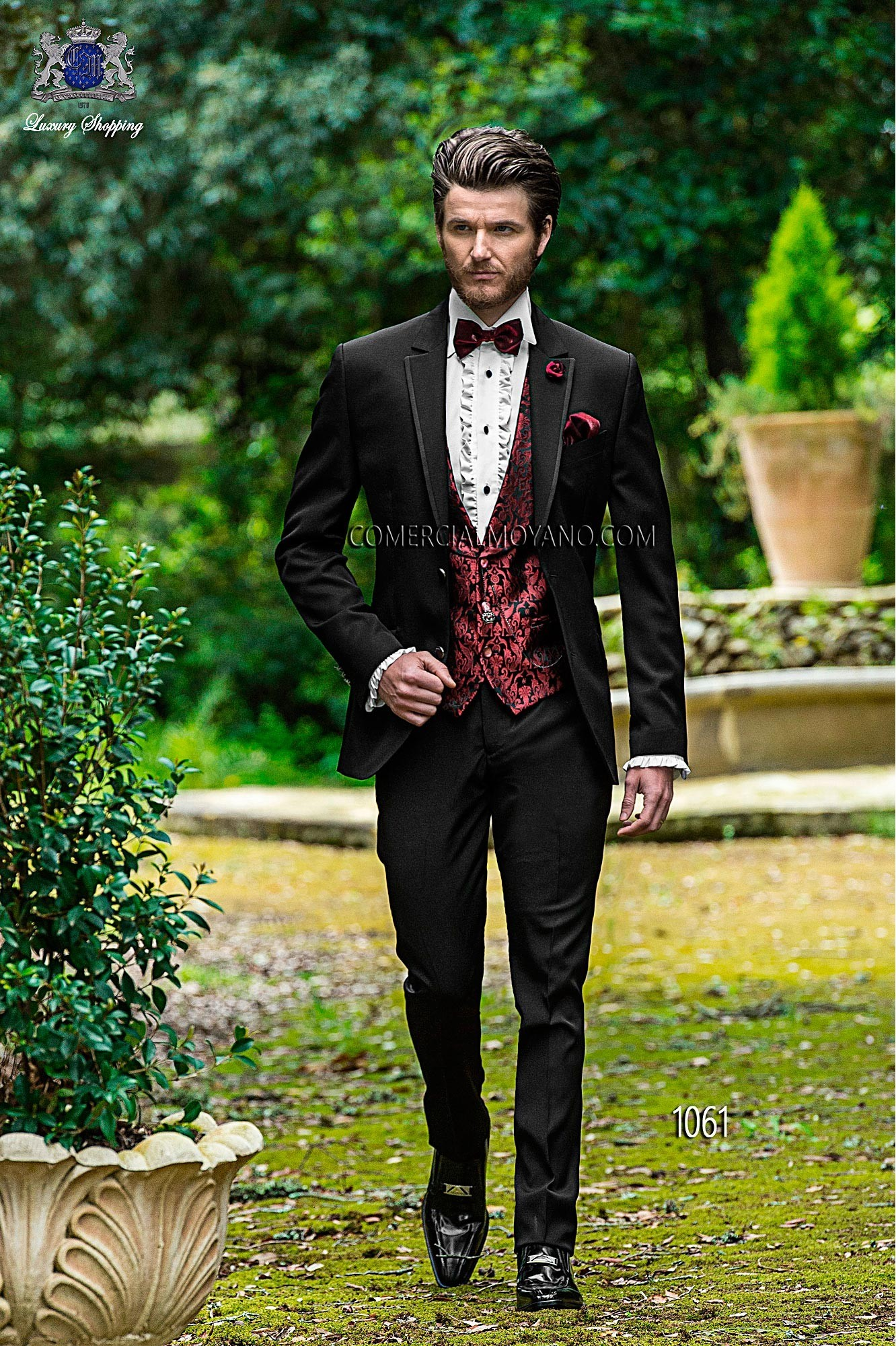 Fashion Black Men Wedding Suit Model 1061 Mario Moyano Collection