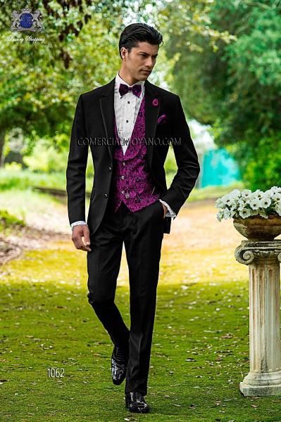 Italian bespoke black groom suit