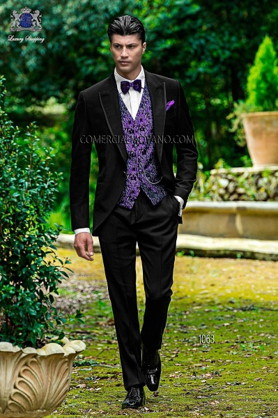 Italian fashion black men wedding suit style 1063 Ottavio Nuccio Gala