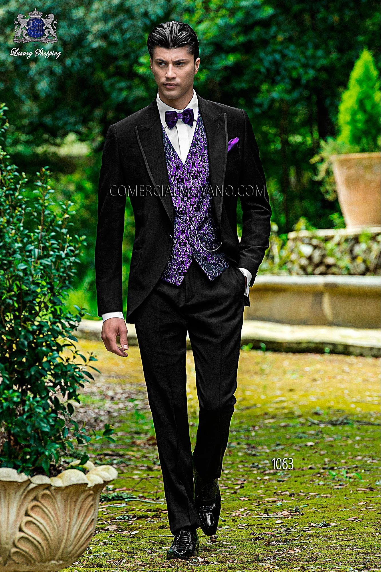 Fashion black men wedding suit model 1063 Ottavio Nuccio Gala