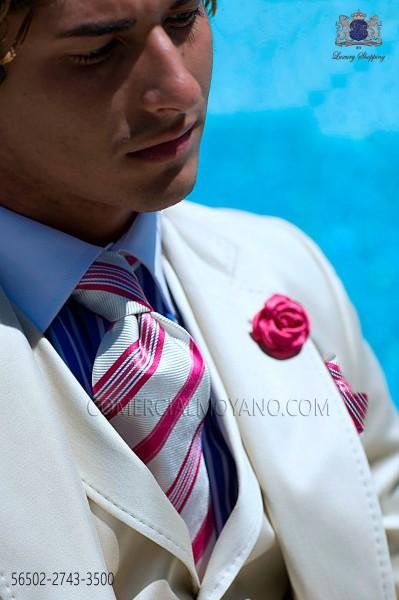 Fuxia trendy striped tie and hankerchief