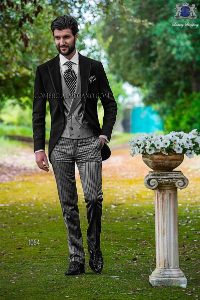 Italian fashion black men wedding suit style 1064 Ottavio Nuccio Gala