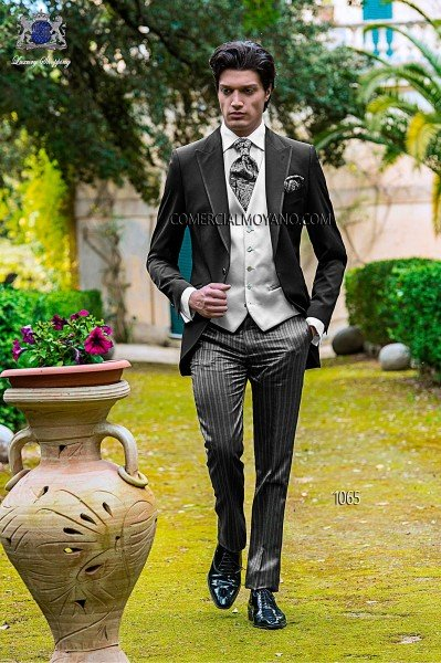 Italian black single breasted wedding suit