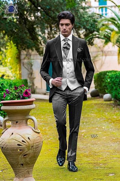 Italian black single breasted wedding suit