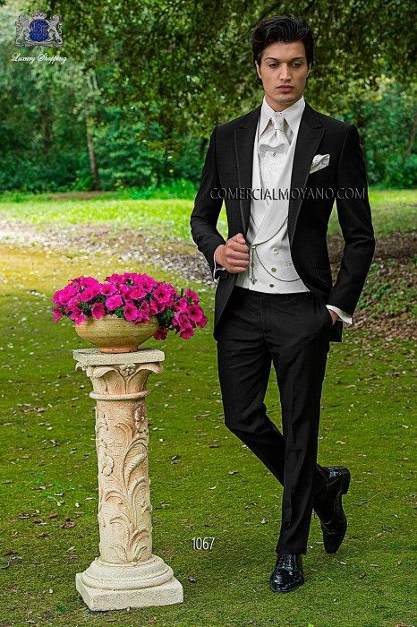 Italian black single breasted wedding suit 1067 Ottavio Nuccio Gala