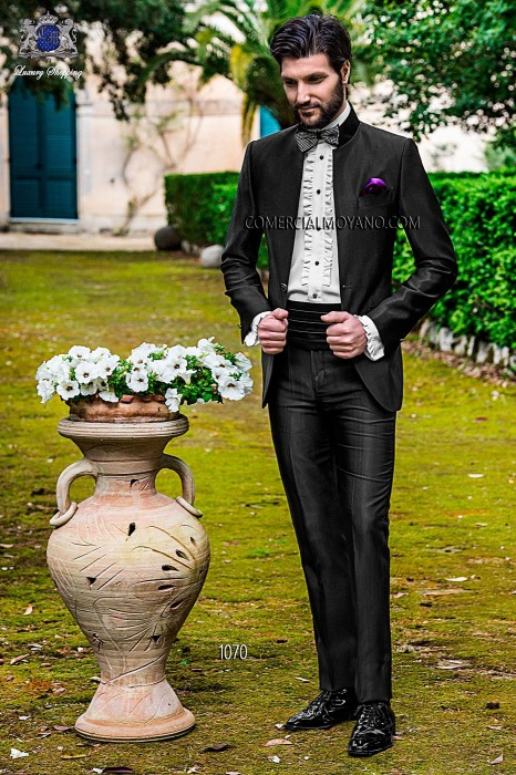 Italian black mao collar groom suit