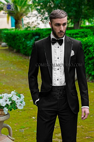 Italian fashion black men wedding suit style 1108 Ottavio Nuccio Gala