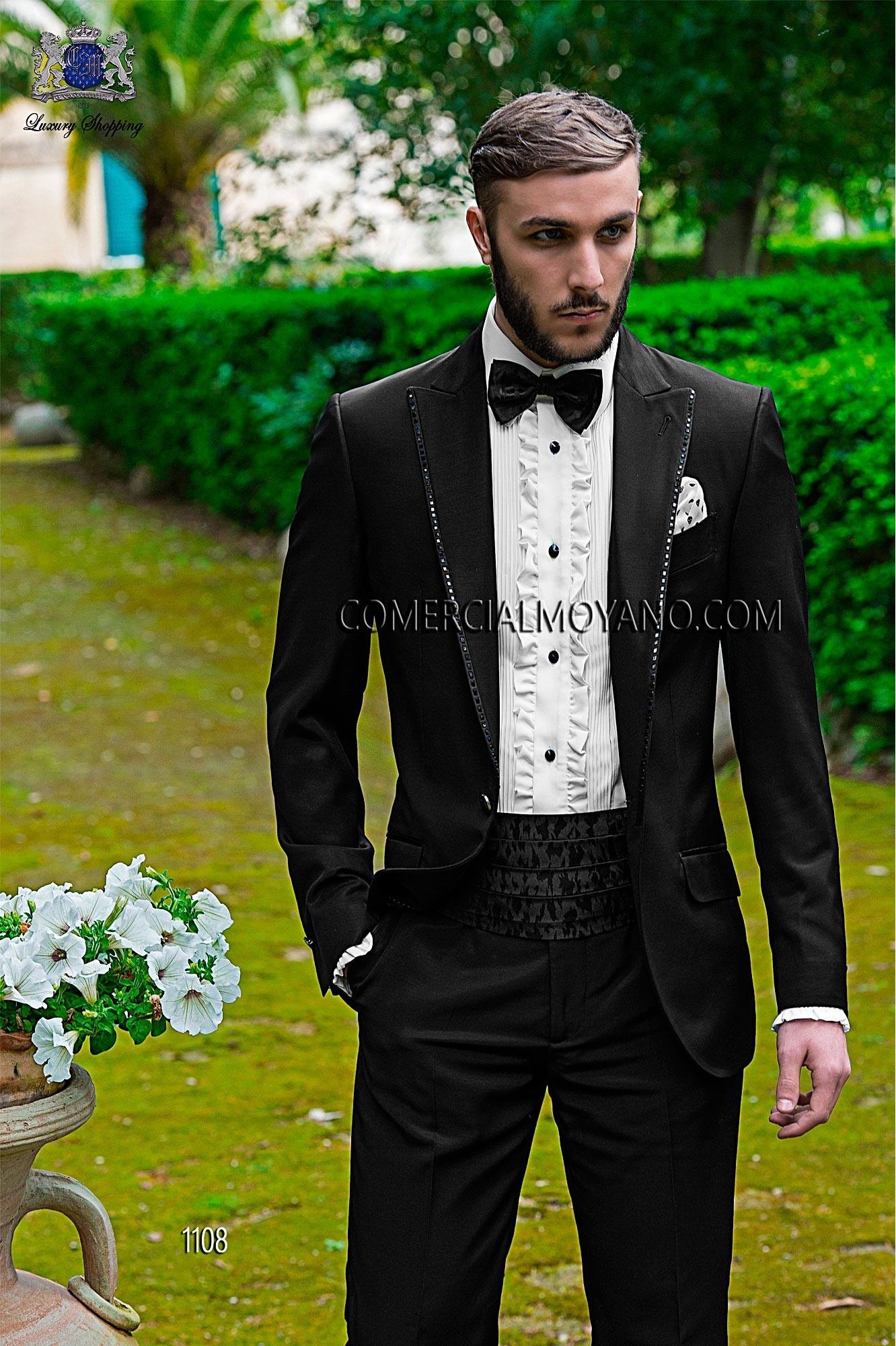 Italian bespoke black wedding suit style 1108 Ottavio Nuccio Gala.