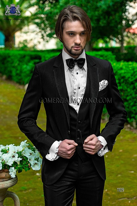 Italian black three pieces groom suit