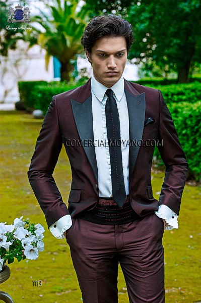 Italian fashion burgundy men wedding suit style 1113 Ottavio Nuccio Gala