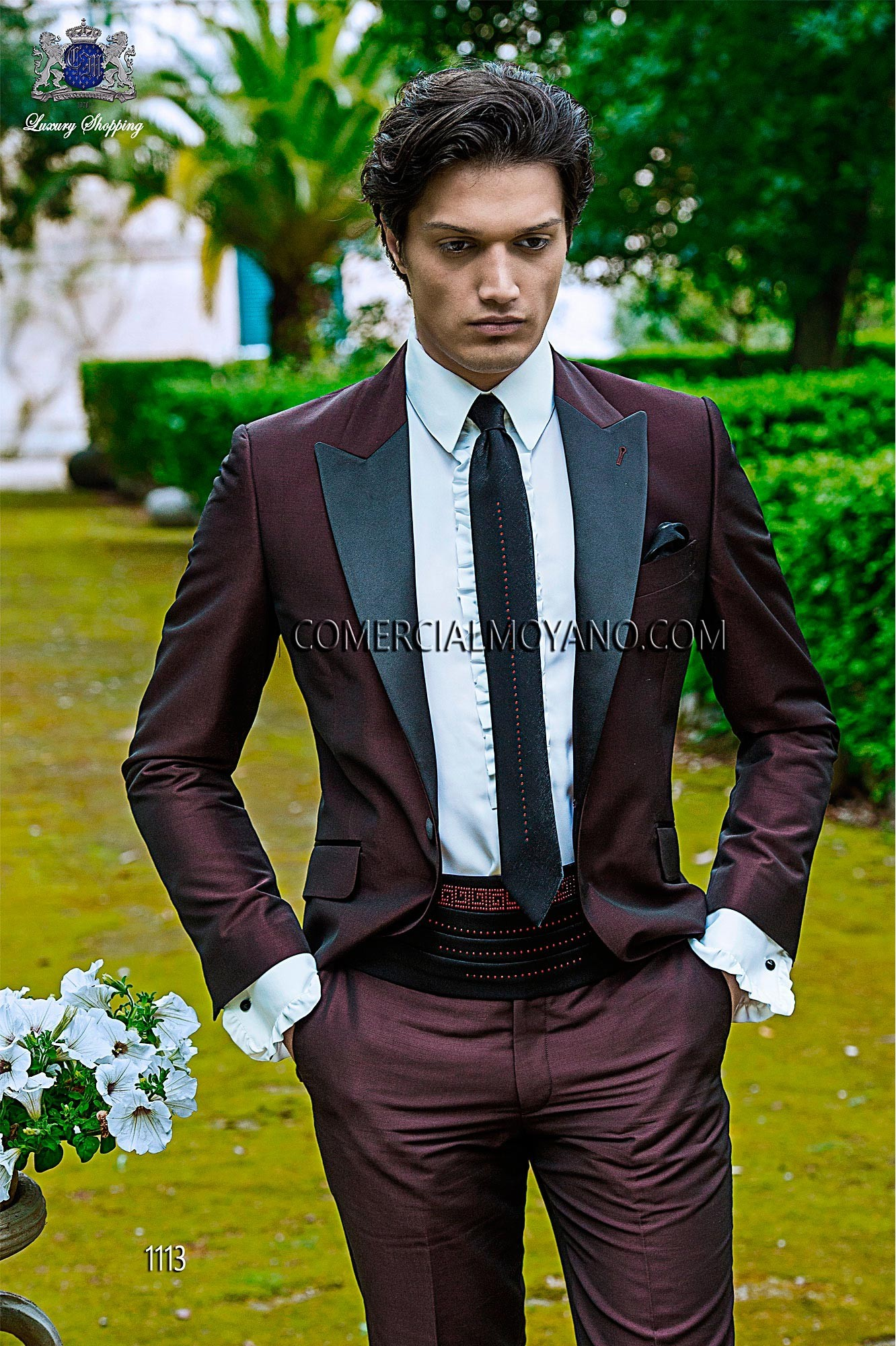 Fashion burgundy men wedding suit model 1113 Ottavio Nuccio Gala