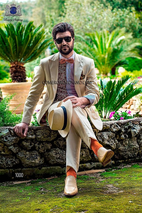 Cotton satin beige italian bespoke fashion suit