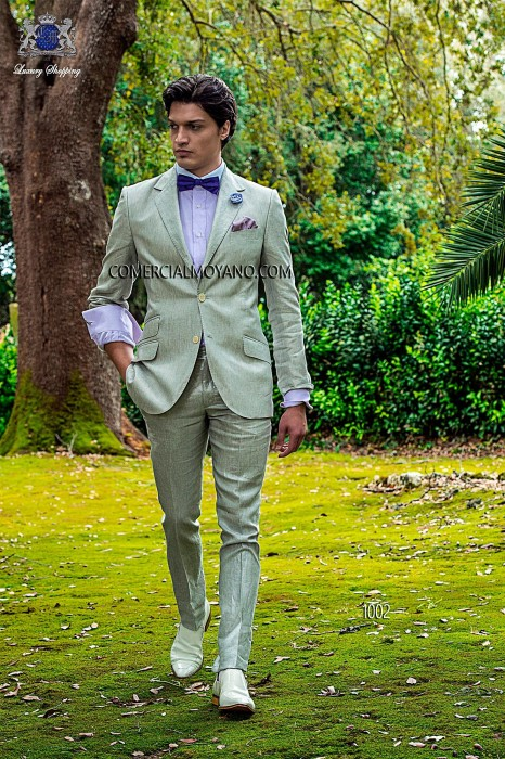Gray linen italian bespoke fashion suit