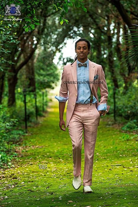 Pink linen italian bespoke fashion suit