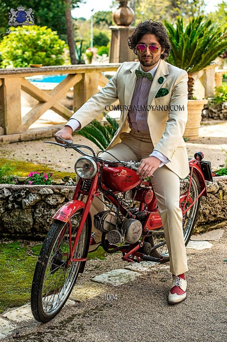 Ivory cotton pique italian bespoke fashion suit