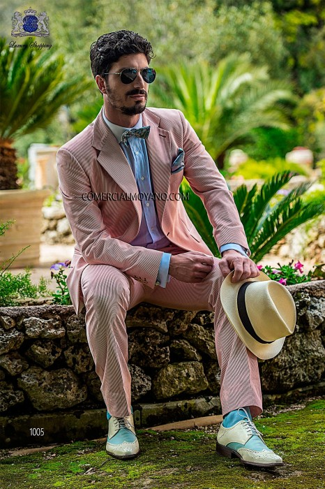 Red cotton striped italian bespoke fashion suit