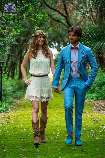 Light blue shantung italian bespoke fashion suit
