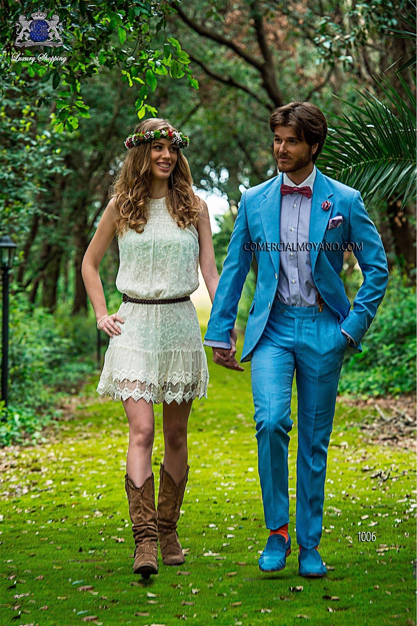 Hipster blue men wedding suit model 1006 Ottavio Nuccio Gala