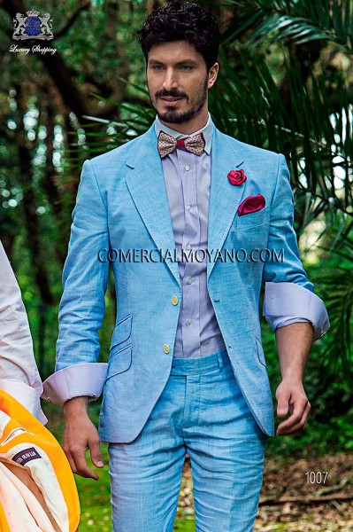 Light blue cotton-linen italian bespoke fashion suit