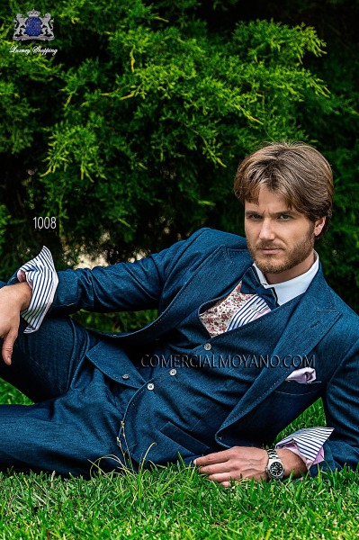 Blue denim italian bespoke fashion suit