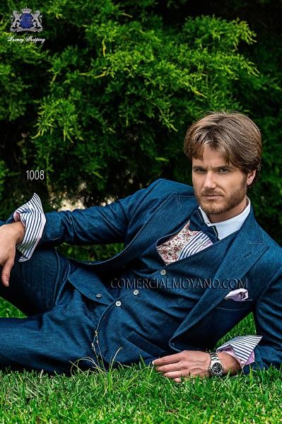 Blue denim italian bespoke fashion suit