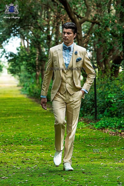Beige shantung italian fashion suit