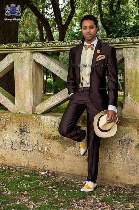 Brown shantung italian fashion suit three pieces