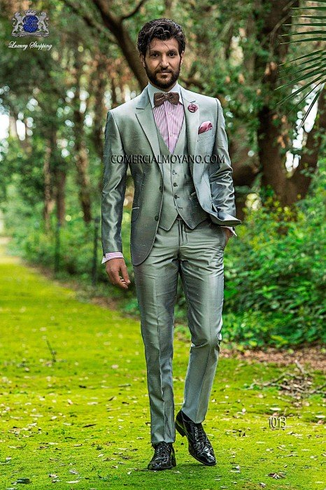Pearl gray shantung italian fashion suit three pieces