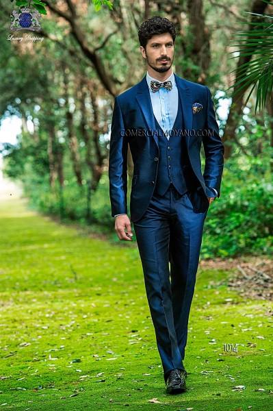 Blue shantung italian fashion three-piece suit