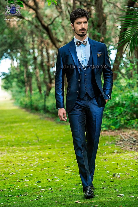 Blue shantung italian fashion three-piece suit